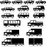 Sistema retro del icono de los vehículos ilustración del vector