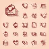 Sistema retro del icono del día de tarjetas del día de San Valentín Imagen de archivo libre de regalías