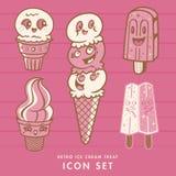 Sistema retro del icono del helado Fotografía de archivo libre de regalías