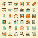 Sistema retro del icono del web Imagen de archivo libre de regalías
