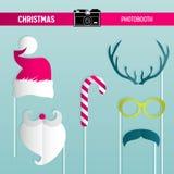 Sistema retro del partido de la Navidad de los vidrios, sombreros, bigotes, barba, máscaras para los apoyos del photobooth ilustración del vector