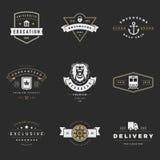 Sistema retro del vector de los logotipos Gráficos del vintage Imagen de archivo