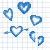Sistema retro dibujado mano del corazón Imagen de archivo libre de regalías