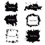 Sistema rizado blanco y negro del vector de la frontera del marco de etiqueta del grunge Fotografía de archivo