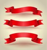 Sistema rojo de la bandera de la cinta ilustración del vector