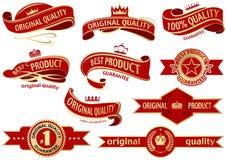Sistema rojo de la cinta de la bandera stock de ilustración