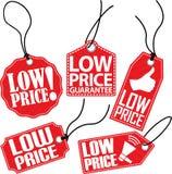 Sistema rojo de la etiqueta del precio bajo, ejemplo del vector Foto de archivo