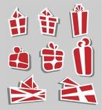 Sistema rojo de la etiqueta engomada de la caja de regalo de la tarjeta del día de San Valentín Fotografía de archivo libre de regalías