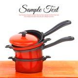 Sistema rojo del cookware imagen de archivo libre de regalías