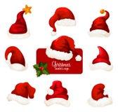 Sistema rojo del icono de la historieta del sombrero y del casquillo de Papá Noel de la Navidad stock de ilustración