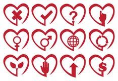 Sistema rojo del icono del vector de la forma del corazón Fotografía de archivo