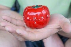 Sistema rojo mecánico del contador de tiempo de la cocina del tomate a 25, sostenido por una mano abierta imagenes de archivo
