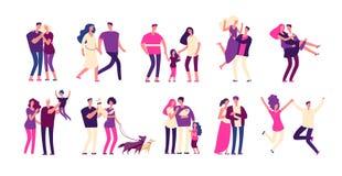 Sistema romántico de la gente Los pares felices abrazan amor romántico joven hermoso de la mujer del padre de familia del amante  libre illustration