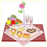 Sistema romántico de la tabla para dos amantes Vino delicioso, dulces, dulces, frutas - todas para un humor maravilloso Las velas ilustración del vector