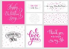 Sistema romántico de las letras de día de las tarjetas del día de San Valentín Foto de archivo