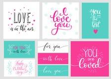 Sistema romántico de las letras de día de las tarjetas del día de San Valentín Imagen de archivo libre de regalías