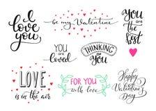 Sistema romántico de las letras de día de las tarjetas del día de San Valentín Imagenes de archivo
