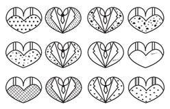 Sistema romántico del vector Boda, tema del amor Elementos para la tarjeta del día de los valentine's Imagen de archivo libre de regalías