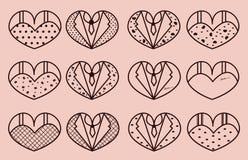 Sistema romántico del vector Boda, tema del amor Fondo rosado Fotos de archivo