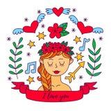 Sistema romántico lindo del vector del garabato de la muchacha Imagen de archivo libre de regalías