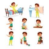 sistema rutinario diario de la actividad del muchacho de la historieta stock de ilustración