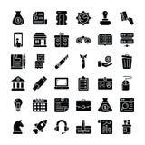 Sistema sólido de los iconos del negocio y de las finanzas ilustración del vector