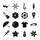 Sistema sólido de los iconos de la isla libre illustration