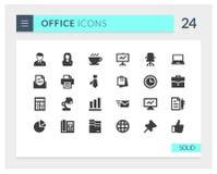 Sistema sólido del icono del vector de la oficina superior Fotografía de archivo libre de regalías