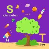 Sistema S-solar de la letra del alfabeto, T-árbol libre illustration