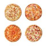 Sistema sabroso fresco del collage de la pizza en el fondo blanco Visión superior foto de archivo libre de regalías