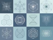 Sistema sagrado de los símbolos y de elementos de la geometría Foto de archivo