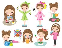 Sistema sano de la dieta de la pérdida de peso de la muchacha de la mujer libre illustration