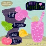 Sistema sano de la receta del smoothie Fotografía de archivo libre de regalías