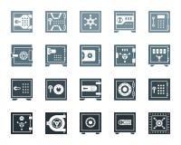 Sistema seguro del vector de los iconos de la silueta del color de la célula del banco libre illustration