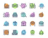 Sistema simple de iconos relacionados del vector de las finanzas del dinero Iconos perfectos del movimiento Editable para los con ilustración del vector