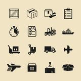 Sistema simple de iconos relacionados de envío del vector Contiene los iconos tales como la caja, los posts, la nave, el avión, e stock de ilustración