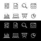 Sistema simple de iconos de SEO ilustración del vector