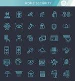 Sistema simple de la línea relacionada con la seguridad casera iconos del vector Imagenes de archivo