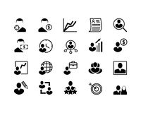 Sistema simple de la línea relacionada iconos del vector de la caza principal Contiene los iconos tales como Job Interview, la tr Foto de archivo