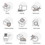 Sistema simple de símbolos de la entrega Línea iconos del negocio Embalando, la ayuda de la charla, entrega por el aire, paquete  Imágenes de archivo libres de regalías