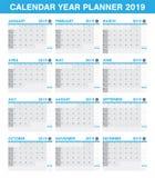 Sistema simple del calendario del planificador de 2019 años de todo el mes stock de ilustración