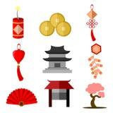 Sistema simple del gráfico del ejemplo del vector del icono de la cultura china ilustración del vector