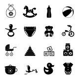 Sistema simple del icono del bebé Foto de archivo libre de regalías