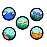 Sistema simple del icono del paisaje Foto de archivo libre de regalías