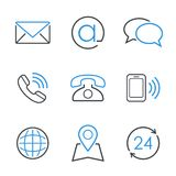 Sistema simple del icono del vector de los contactos