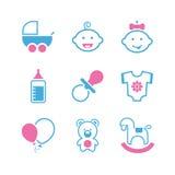 Sistema simple del icono del vector del bebé Foto de archivo