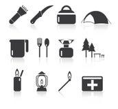 Sistema simple del icono que acampa Foto de archivo libre de regalías