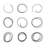 Sistema simple dibujado mano de la plantilla del círculo Imagenes de archivo