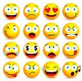 Sistema simple sonriente de la cara y del emoticon con expresiones faciales Fotos de archivo libres de regalías