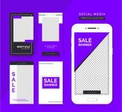 Sistema social de las plantillas de las historias de los medios Fondos de moda para los medios sociales, app del smartphone stock de ilustración